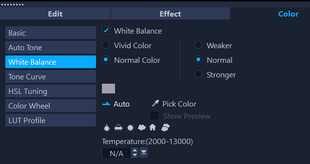 Adjusting white balance